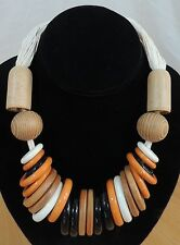 Orange Brown Cream Wood Beads & Plastic Ring Cotton Cord Necklace