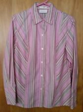 Women's STUDIO WORKS Button up LS Shirt Top Blouse Pink Striped Career S