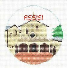 ASSISI, ITALY Travel Ornament handpainted Needlepoint Canvas Kathy Schenkel RD.