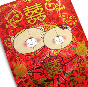 10pc Hallmark Forever friends bear Chinese wedding Red Packet pocket envelope