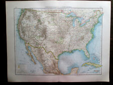 Antique Big Size map. North America. Usa & Part Of Mexico. 1898