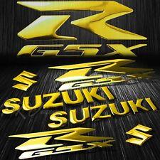 """5.75""""ABS Logo+Letter Decal+6.25"""" GSXR Fairing Emblem Sticker Suzuki Chromed Gold"""