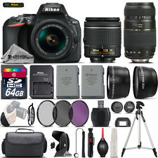 Nikon D5600 Digital SLR Camera + 18-55mm VR + 70-300mm + Extra Battery +  64GB