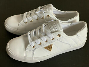 NEW! GUESS COMLY WOMEN'S GOLD LOGO WHITE LEATHER SNEAKERS SHOES 7.5 38 SALE