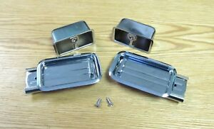 1955 56 1957 CHEVY REAR CHROME ASH TRAY ASSEMBLIES  New 4 piece set with screws