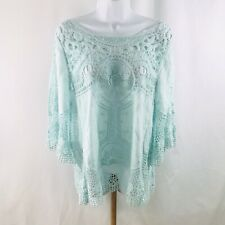 NWOT Democracy Crochet And Embroidered Boho Top Size Medium Light Blue