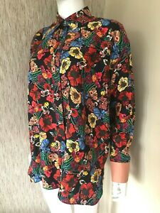 PAUL SMITH OCEAN FLORAL SILK SHIRT BLOUSE RELAXED FIT SIZE UK 10-12 RETAIL £350