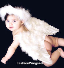 FashionWings (Tm) White Feather Angel Wings for 6-18 month Baby, w/Halo, Poster