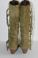 Bottes Pointues PLEIN SUD Daim Kaki à Franges T 40 BE
