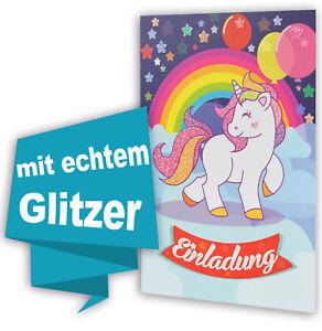 """8 Stk """"Einhorn Pferd"""" Geburtstag Einladung (.(.(..GLITZERND..).).) +Umschläge"""