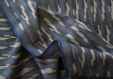 "Artisan Ikat. Hand-Woven & Dyed Drapery Fabric Blue Black India Cotton 44"" Wide"