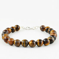 Earth Mined 165.00 Cts Golden Tiger Eye Round Shape Beads Bracelet - On Sale