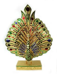 Large Thai Peacock Statue, Real Gold Leaf, 65cm. Thailand. Handmade woodcarving