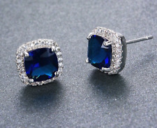 Bridal Wedding CZ Royal Blue Sapphire Colour Earrings 925 Sterling Silver