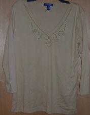 Women's Chaps Beige Sequined Design Long Sleeve Casual Shirt Blouse L