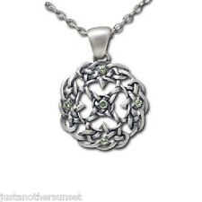 Celtic Knot Wreath Hoop Green Gems Necklace Pendant Silver Tone New