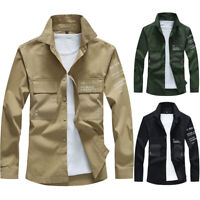 NEW Mens Long Sleeve Army Tactical Shirts Casual Work Military Dress Shirt Tops