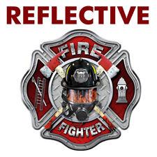 "REFLECTIVE Firefighter ""MASK"" Cross Sticker - Window Vinyl Decal Fire #FS2028"