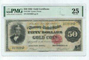FR. #1194, $50 1882 Gold Certificate Graded PMG Very Fine 25 Lyons/ Treat