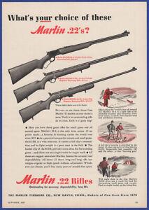 Vintage 1947 MARLIN Model 39-A 80-DL 81-DL .22 Cal. Riffles Ephemera Print Ad