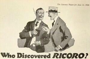 1918 Ricoro Self Made Cigar Puerto Rico Rich Fragrant Smoking Antique Print Ad
