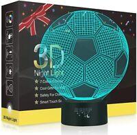 Football 3D Illusion Lampes, LED Veilleuse 7 Couleurs Tactile Interrupteur USB