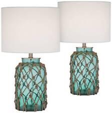 Nautical Table Lamp Blue Glass Bottle Rope Net White for Living Room Bedroom