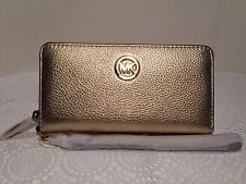 Michael Kors Fulton Pale Gold Leather Large Multifunction Phone Case Wristlet