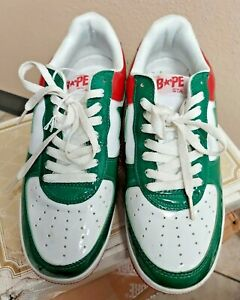 Bapesta Foot Soldier Green, Red, and White A Bathing Ape size 8.5 shoes L9033-11
