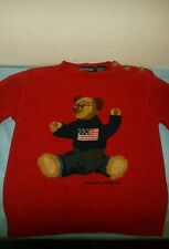 VINTAGE RARE RED Toddler Ralph Lauren Sweater FLAG TEDDY BEAR  2T