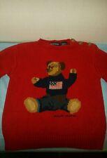 VINTAGE RARE RED Toddler Ralph Lauren Sweater FLAG TEDDY BEAR  2T