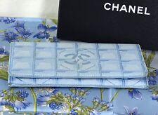 CHANEL Portemonnaie Börse Geldbeutel Made In Italy himmelblau CC Stoff mit Leder
