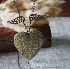 Angel Wing Heart Brass Locket Pendant Necklace Handmade Jewerly Flying Heart