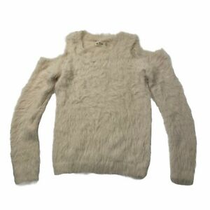 Hollister Womens XS White Faux Fur Cold Shoulder Sweater Fuzzy Soft