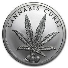 2 oz silver cannabis cures 2018 silver shield BU COA Mini mintage .999 pure!