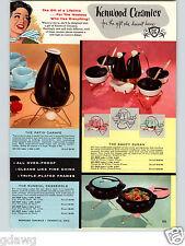 1958 PAPER AD Kenwood Ceramics Patio Coffee Carafe Lobster Casserole Clock