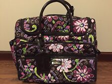 Vera Bradley Rolling Duffel Bag Carry On Travel Luggage Purple Punch Excellent