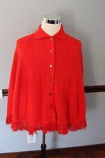 Vintage Bradley Knitwear Acrylic Red Poncho Shawl 1960's Mad Men Style Cool