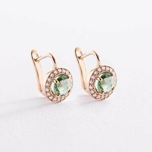 Earrings  green and white cubic zirkonia solid rose gold 14K 585 Russian style