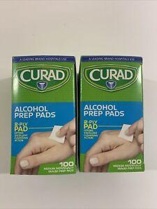 CURAD Alcohol Prep Pads - 100 Count (2 Packs)