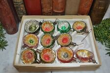 Antique Box of 11 German Deep Indent Christmas Tree Ornaments Mercury Glass 40's