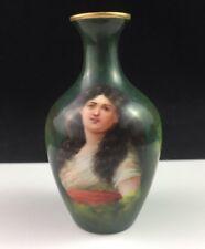 Antique Royal Schwarzburg German Hand Painted Portrait Porcelain Vase Signed