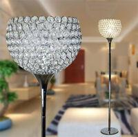 Modern Gold/Silver Chrome Crystal Floor Lamp Living Room Bedroom Landing Lights