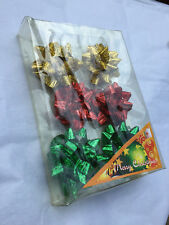 """6 piece package 2 1/2"""" Gold Red and Green Metallic Mini Christmas Gift Wrap Bows"""