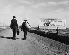 New 8x10 Photo - Man and boy walking on a desert road toward Los Angeles 1937