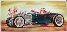 KEITH WEESNER PRINT 1930 31 FORD HOT ROD FLATHEAD ROADSTER RAT POSTER VTG STYLE