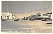 Douglas AZ Bank Rexall Drugs Street View Store Fronts Old Cars RPPC Postcard