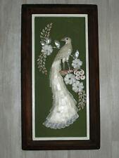 "Vintage SEASHELL PEACOCK & FLOWERS WALL ART Framed 3D Shadow Box 21""x11"""