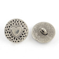 10 Stunning Round Metal Shank Buttons with Pretty Heart Design FREE P&P