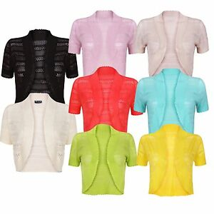 Ladies Womens Knitted Bolero Crochet Shrug Cover Up Top Cardigan